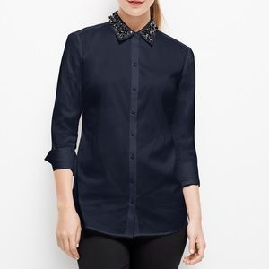 New Ann Taylor Jeweled Navy Blue Collar Blouse